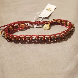 NWT Tory Burch Red Crystal Macrame Bracelet
